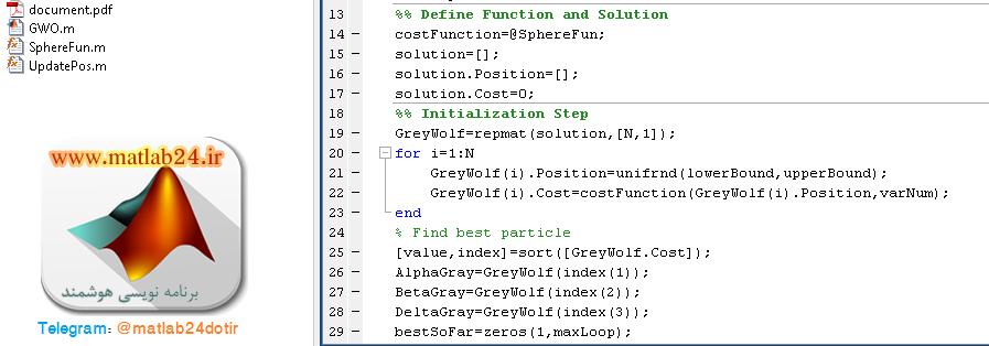 کد متلب الگوریتم گرگ خاکستری