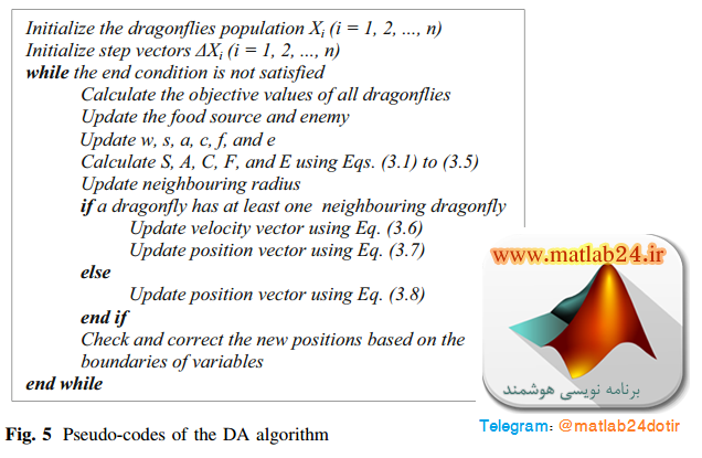 شبه کد الگوریتم سنجاقک